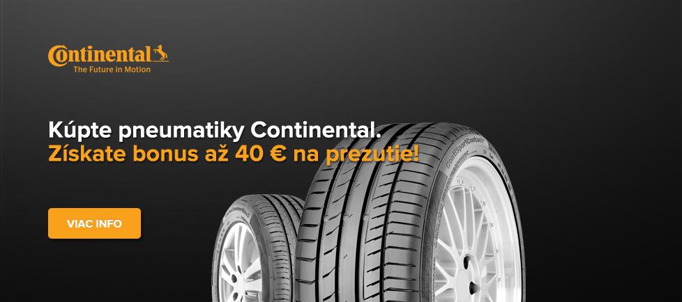 Bonus Continental až 40€ na prezutie alebo geometriu