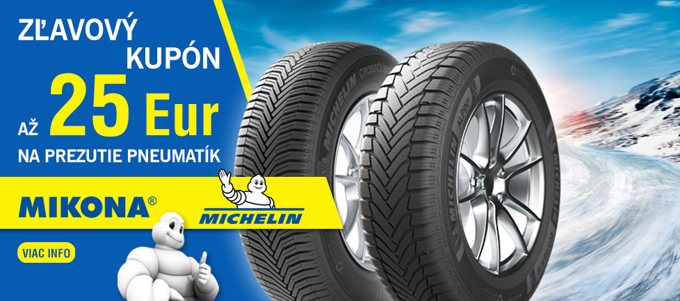 Michelin zlavovy kupon 25€ na prezutie